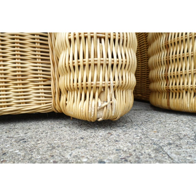 Wood Rattan Lounge Chair With Ottoman For Sale - Image 7 of 12