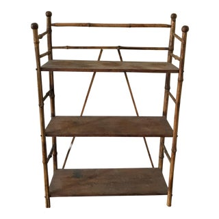 Vintage Bamboo & Wood Floor Shelf