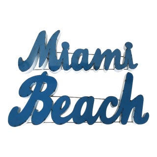 "Vintage Recycled Iron ""Miami Beach"" Sign - a Pair For Sale"