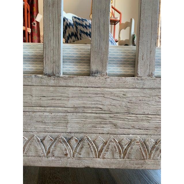 Scandinavian Tartan Cushion and Aqua Slipcover for Summer Bench For Sale - Image 9 of 11
