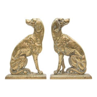 Antique English Brass Fireside Mantel Dogs - a Pair For Sale