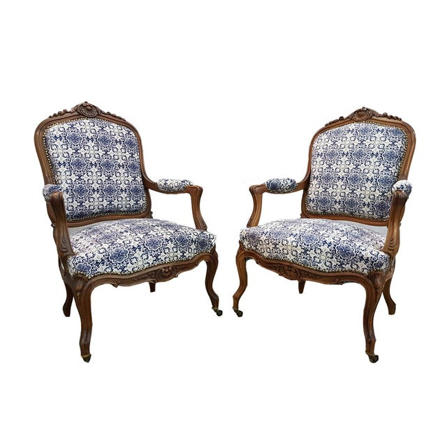 Gorgeous Pair of French Newly Upholstered Carved Walnut Louis XV Caster Wheel Armchairs For Sale - Image 13 of 13