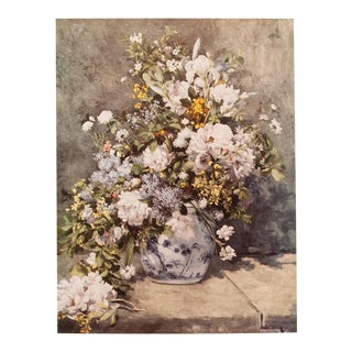 """Mid Century Vintage """"Large Vase of Flowers"""" Lithograph by Renoir For Sale"""