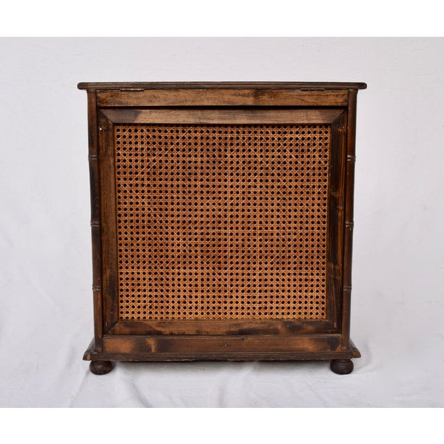 Burnt Umber Chinese Chippendale Caned Faux Bamboo Hamper For Sale - Image 8 of 11