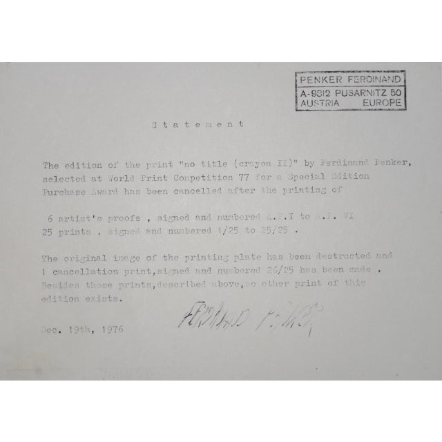 """Paper 1970s Contemporary Abstract """"No Title (Crayon 2)"""" Etching by Ferdinand Penker For Sale - Image 7 of 8"""