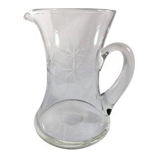 Mid-Century Starburst Etched Glass Pitcher