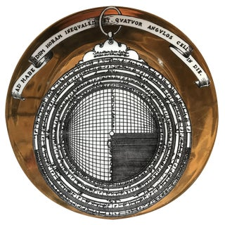 Piero Fornasetti 1970s Italian Astrolabio Series #12 Plate with Signature on Back For Sale