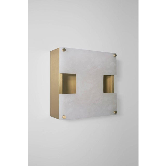 Contemporary Modern Contemporary 002a Sconce in Brass and Alabaster by Orphan Work For Sale - Image 3 of 5
