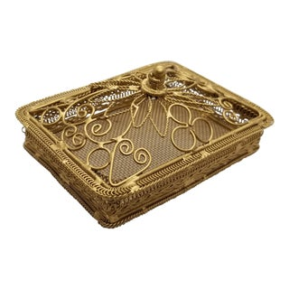 Vintage Art Deco Vintage Gold Filagree Trinket Box With Lid For Sale