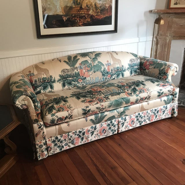 Hollywood Regency 1980s Vintage Pearson British West Indies Jungle Print Sofa For Sale - Image 3 of 13