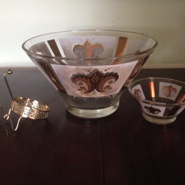 Mid-Century Glass Ice Bucket with Condiment Bowl - Image 8 of 11