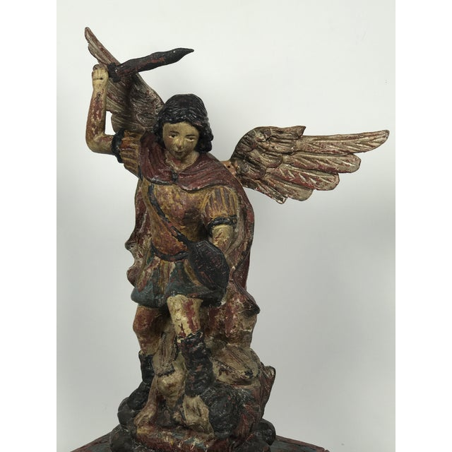 69f976288b5 Religious Religious Carved Wood Saint Michael Archangel Sculpture For Sale  - Image 3 of 11