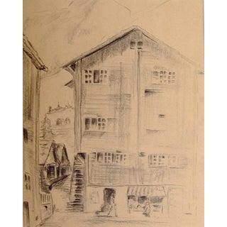 European Street Scene Pencil Study For Sale