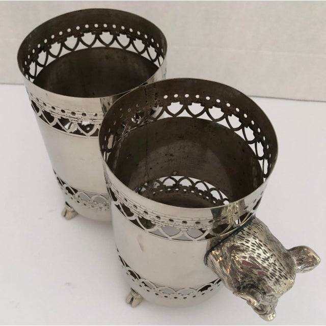 Traditional Wild Boar Double Bottle Holder, Silver Plate Rare For Sale - Image 3 of 10