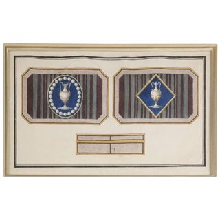 Early 19th Century Antique Design for a Snuff Box Watercolor Drawing For Sale