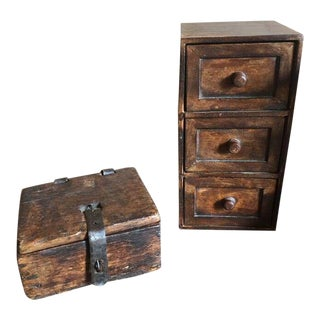 Vintage Wooden Boxes - a Pair For Sale