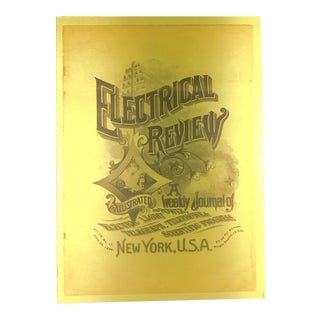 1888 Electrical Review Cover Printed on Brushed Brass For Sale