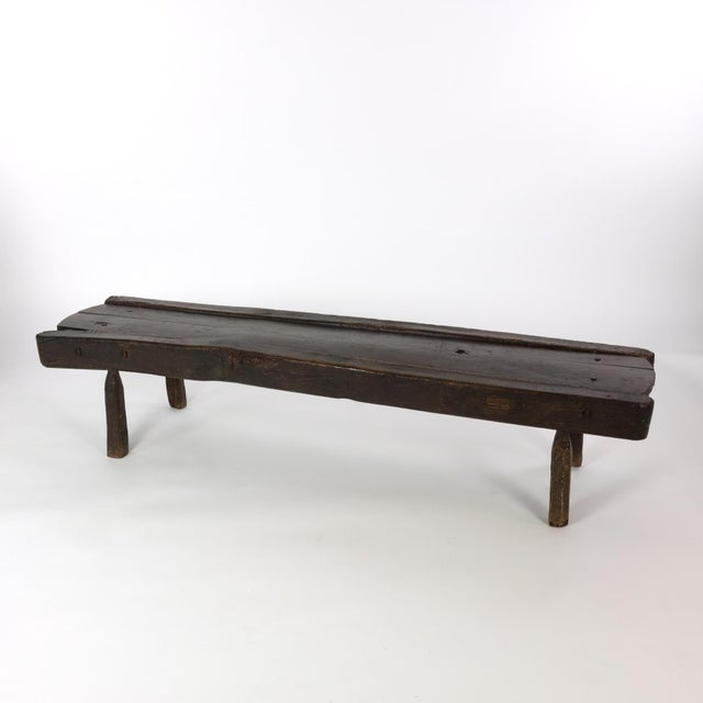 Low Rustic Oak Bench, English Circa 1860 For Sale - Image 4 of 7