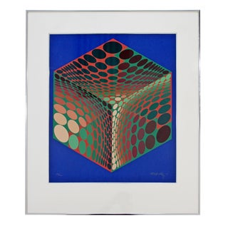1970s Mid Century Modern Framed Litho Signed Numbered Op Art Print by Vasarely For Sale