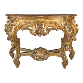 1940s Italian Carved Console Table For Sale