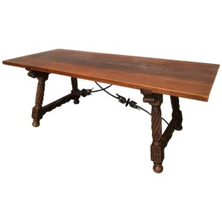 18th Spanish Refectory Desk Table With Solomonic Legs and Iron Stretcher For Sale