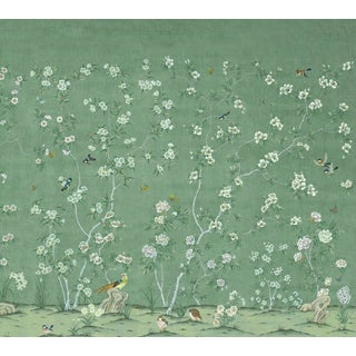 "Casa Cosima Emerald Quince Wallpaper Mural - 4 Panels 144"" W X 108"" H For Sale"