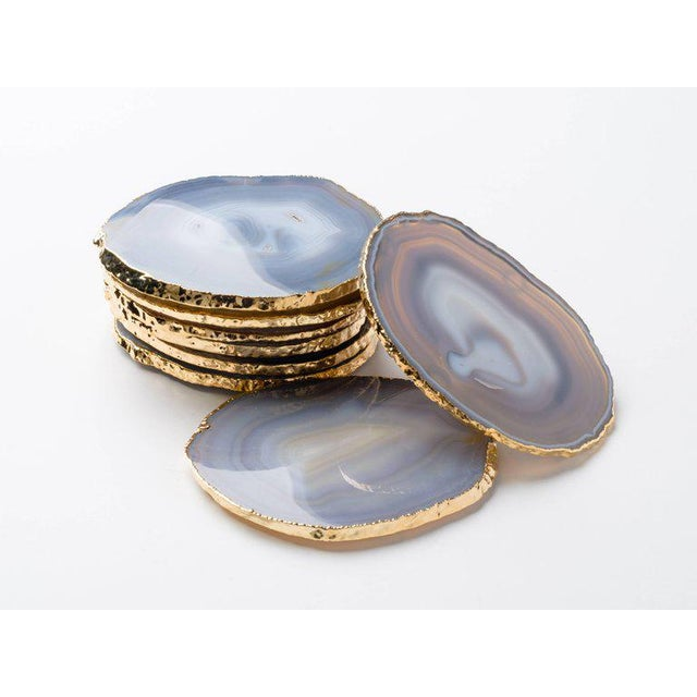 Set of Eight Semi-Precious Gemstone Coasters Grey Agate Wrapped in 24-Karat Gold For Sale - Image 11 of 11