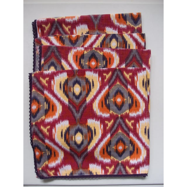 Yellow Plum Ikat Napkins - Set of 4 For Sale - Image 8 of 9