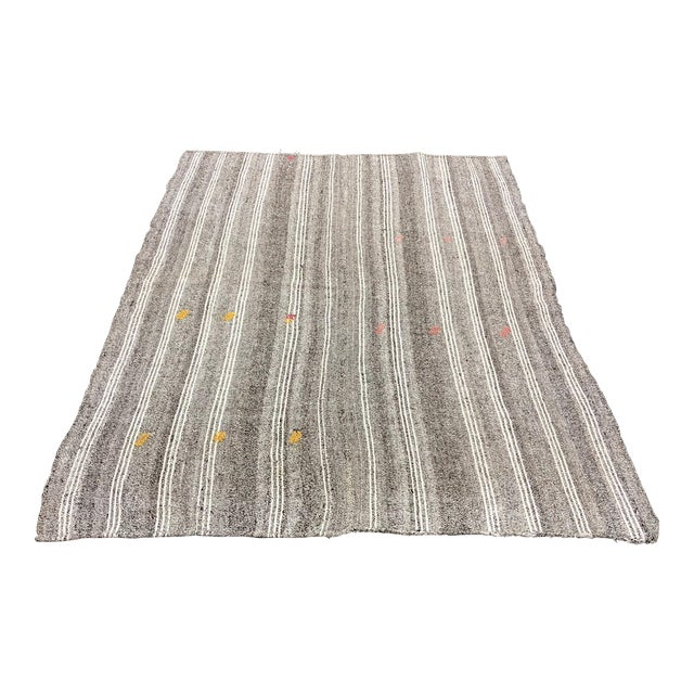 1960s Vintage Primirtive Turkish Traditional Hand Woven Tribal Area Rug- 5′8″ × 7′3″ For Sale