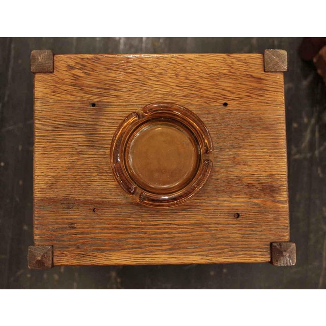 Mid 20th Century 20th Century Arts and Crafts Humidor Oak Pipe & Ashtray Stand For Sale - Image 5 of 8