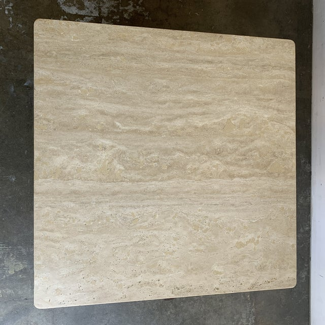 Tan Rounded Edge Square Travertine Coffee Table For Sale - Image 8 of 13