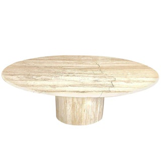 Italian Travertine Oval Dining Table by Ello