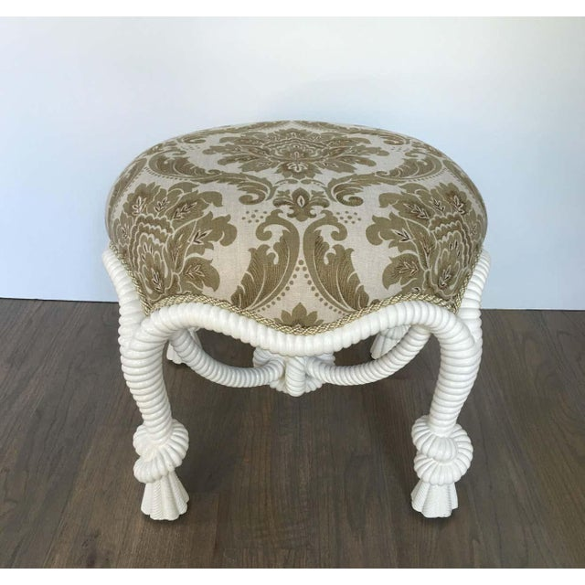 Napoleon III style stool or ottoman with twisted rope design after the model by A.M.E. Fournier, circa 20th century....