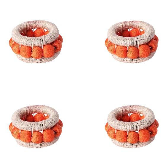 Berry Napkin Rings Blush & Papaya - Set of 4 For Sale
