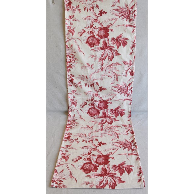 "Custom French Red & Ivory Trailing Floral Toile Table Runner 110"" Long For Sale - Image 4 of 7"