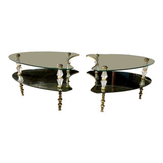 20th Century Hollywood Regency Glass Side Tables - a Pair For Sale