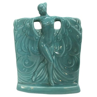 Turquoise Nude Art Deco Goddess Ceramic Planter For Sale