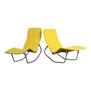 Bartolucci-Waldheim Barwa Lounge Chairs Aluminum and Yellow Canvas - a Pair