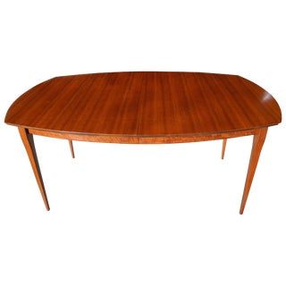 Modern Three-Leaf Block Mottle Walnut Dining Table by Bertha Schaefer, 1950s For Sale