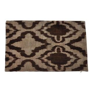 Brown Ikat Silk Velvet Throw Pillow For Sale