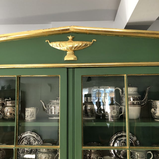 Neoclassical Vintage Neoclassical Style Green Painted Bookcase For Sale - Image 3 of 13