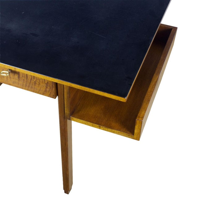 1970s Rationalist Desk by Pietro Bossi, Waxed Walnut, Brass, Formica - Italy For Sale - Image 11 of 13