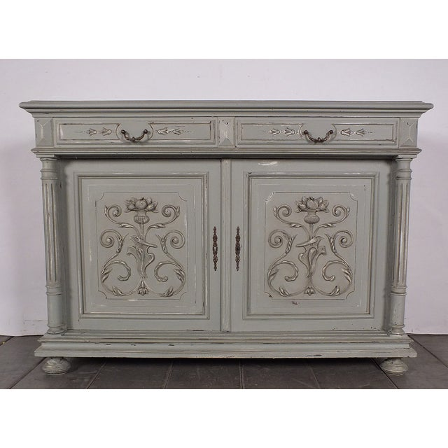 19th C. French Vintage Gray Credenza - Image 2 of 11