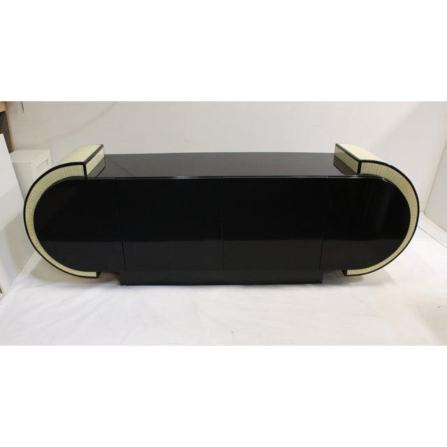 Pierre Cardin Style Black Modern Four-Door Buffet - Image 3 of 10
