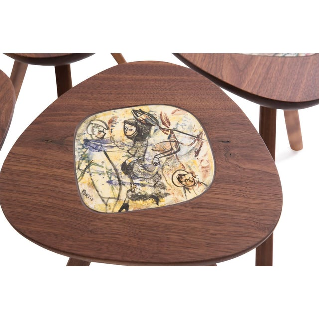 Mid-Century Modern Four Lee Porzio & Allen Ditson Walnut Ceramic Side Tables For Sale - Image 3 of 11