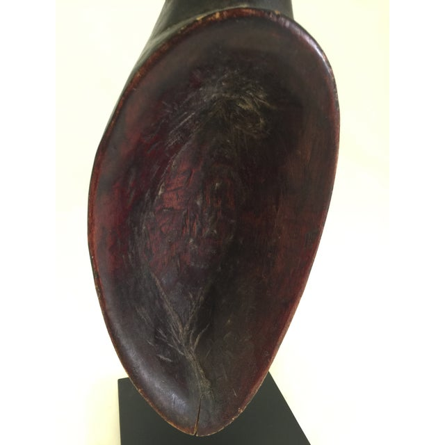 Rustic European Carved African Spoon on Mount For Sale - Image 3 of 7