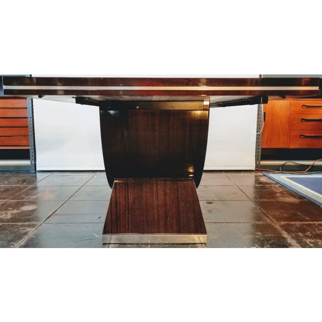 Art Deco 20th Century Italian High Gloss Walnut and Chrome Extendable Dining Table For Sale - Image 3 of 9