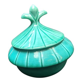 Green Fleur De Lis Dish With Lid - USA Pottery For Sale