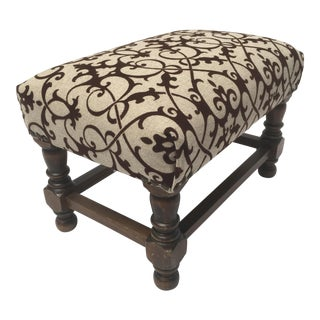 1920s Flocked Velvet Foot Stool