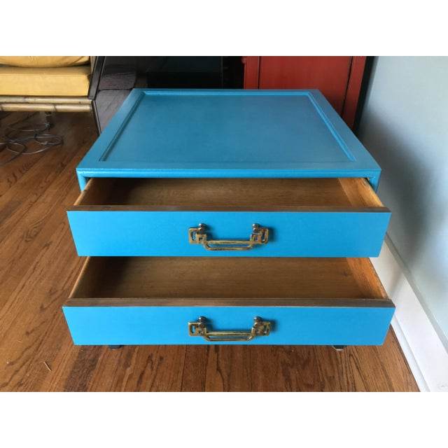 1970s 1970s Hollywood Regency Blue Hekman Side Table With Two Drawers For Sale - Image 5 of 8